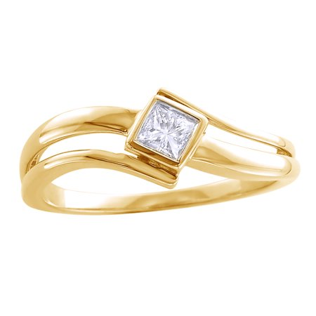 Princess Cut White Natural Diamond Solitaire Promise Ring in 14k Yellow Gold (0.2