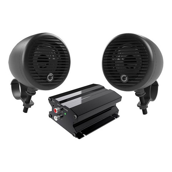 "New Planet Motorcycle/atv Sound System With Bluetooth 1 Pair Of 3"" Matte Black Speakers Amp"