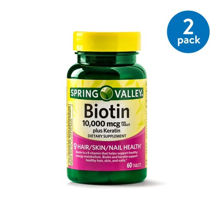 (2 Pack) Spring Valley Biotin Plus Keratin Tablets, 10000 mcg, 60 Ct ()