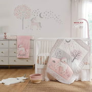 Levtex Baby - Colette Crib Bed Set - Baby Nursery Set - Grey Pink White - Unicorn - 5 Piece Set Includes Quilt, Two Fitted Sheets, Wall Decal & Skirt/Dust Ruffle