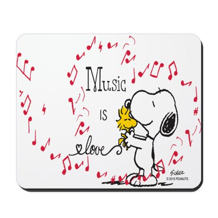 CafePress - Snoopy Music Is Love - Non-slip Rubber Mousepad, Gaming Mouse Pad