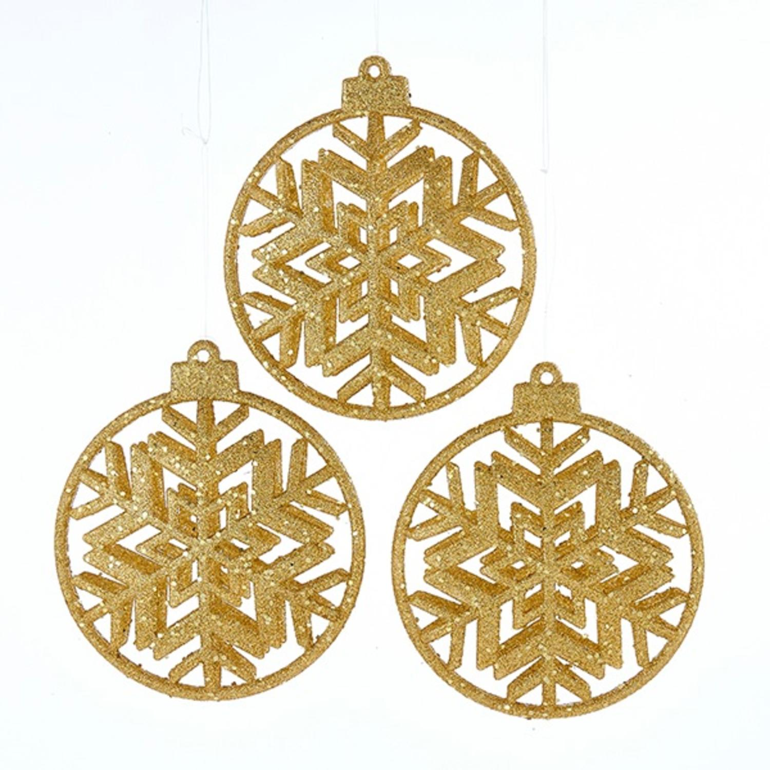 Set of 3 Gold Glittered Round Disc Snowflake Hanging Christmas Ornaments 4""