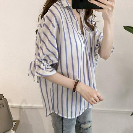 Comfortable Seven-Quarter Sleeve Stripe Printed Women Chiffon Shirts Female Daily Wear Turn-Down Collar Shirt Tops - image 7 of 8