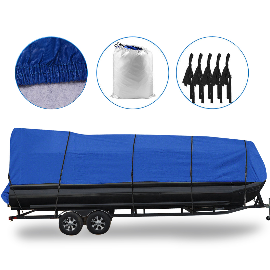 """Waterproof Boat Cover All Seasons Outdoor Protector Aluminium Film Composite Cotton Fits Quick Release Buckle Strap (Blue, Fit 21'-24'L x 102"""" Beam Width)"""