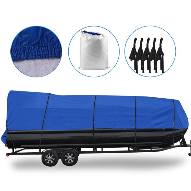 "Waterproof Boat Cover All Seasons Outdoor Protector Aluminium Film Composite Cotton Fits Quick Release Buckle Strap (Blue, Fit 21'-24'L x 102"" Beam Width)"