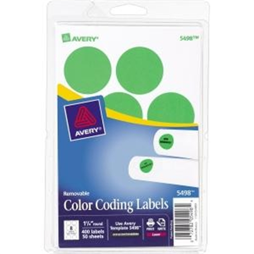 "Avery 5498 Removable Print or Write Color Coding Labels for Laser Printers, 1-1/4"" Round - Neon Green (Pack of 400)"