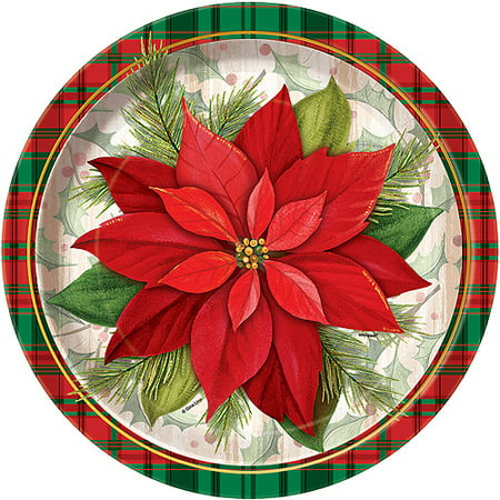 "9"" Poinsettia Plaid Holiday Paper Dinner Plates, 8ct"