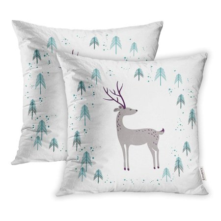 USART Deer in Winter Pine Forest White for Christmas Year Stationery Pillow Case Pillow Cover 16x16 inch Set of 2