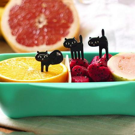 6 Fruit fork / cute cartoon baby fork / kitten easy decoration - Cute Easy Cartoons