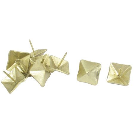 Domed Shape - 10 Pcs Yellow Square Shape Notice Board Corkboard Domed Nails Pushpins 18mm Dia