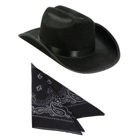 Kids Black Cowboy Outlaw Felt Hat And Bandana Play Set Costume - Outlaw Cowboy Costume