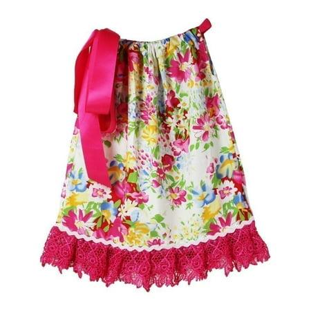 Little Girls Hot Pink Floral Print Lace Trim Pillowcase Summer Dress 1-3Y