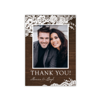 Personalized Wedding Thank You - Rustic Lace Border - 5 x 7 Flat