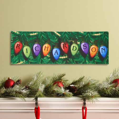 """Personalized Christmas Lights 6"""" x 18"""" Canvas"""