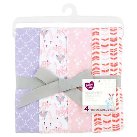 Parent's Choice Receiving Blankets, Songbird, 4 Pack Royal Blue Receiving Blanket