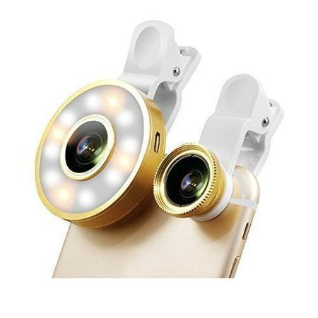 6 in 1 Cellphone Lens Kit With Rechargable LED Selfie Ring Light  Fisheye,  Marco, Wide Lens  For All Smartphones & Tablets