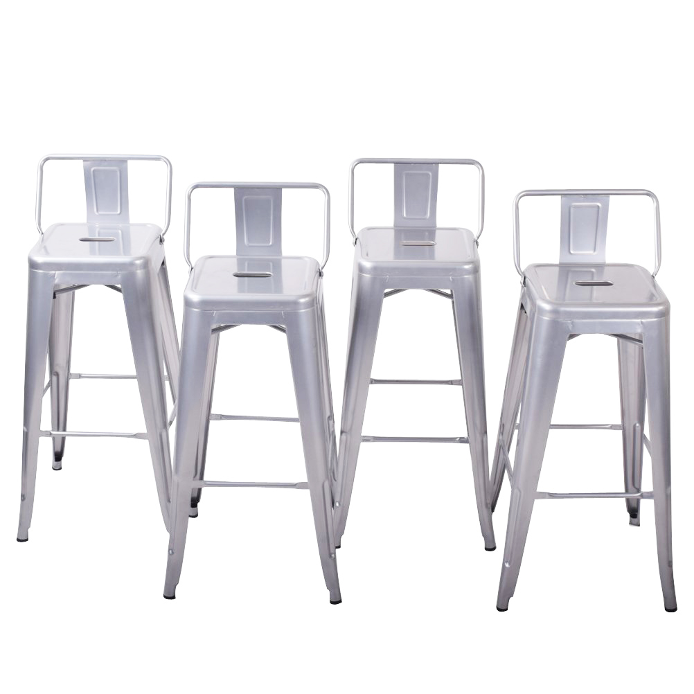 Belleze Bar Height Stools With Backs Kitchen Bar, Set Of (4) Silver