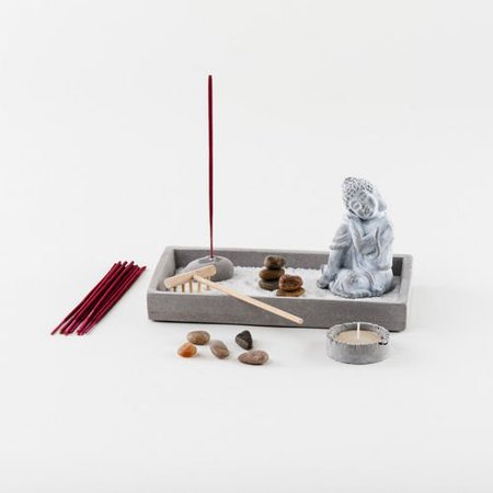 Grey Sand (Grey Grey Cement Rustic Buddha Statue Garden Set with Tealight Candleholder, Sand, Rock &)