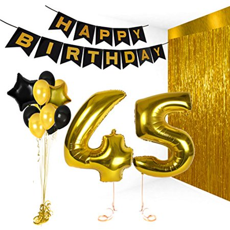 Happy Birthday Decorations Bday Banner Party Kit Pack B-day Celebration Supplies with Gold and Black Stars Balloons + Extra Large Golden Fringe Curtain for Men or Women (45)