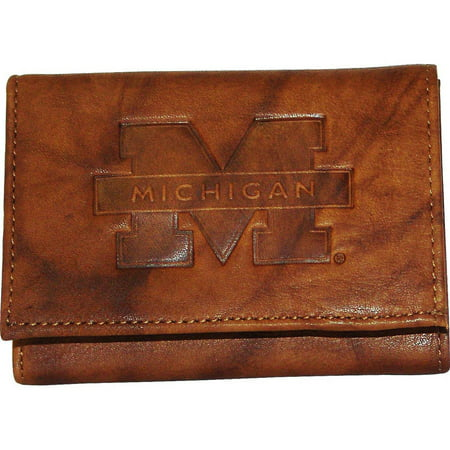 - Rico NCAA Michigan Embossed Leather Trifold Wallet