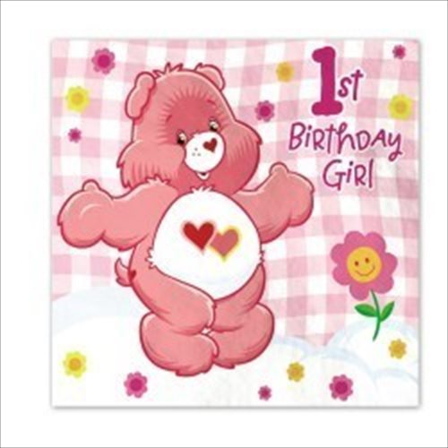 Care Bears Girl's 1st Birthday Lunch Napkins (16ct)