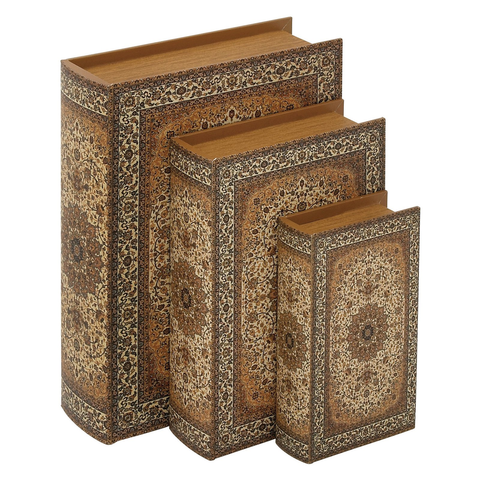 Wood Faux Leather Book Box Set Of 3, Multi