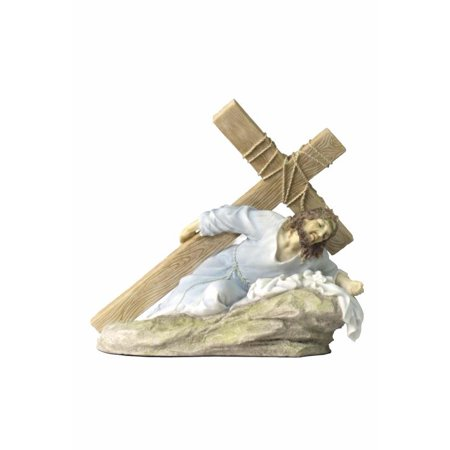 Jesus On The Ground Carrying The Crucifix (Light Color) - Religious