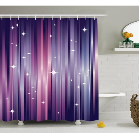 Eggplant Shower Curtain Abstract Colourful Beams Backdrop With White Stars E Inspired Purple Lines Fabric Bathroom Set Hooks Multicolor