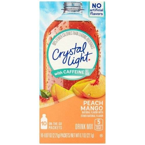 Crystal Light On The Go Energy Peach Mango Drink Mix, 10ct
