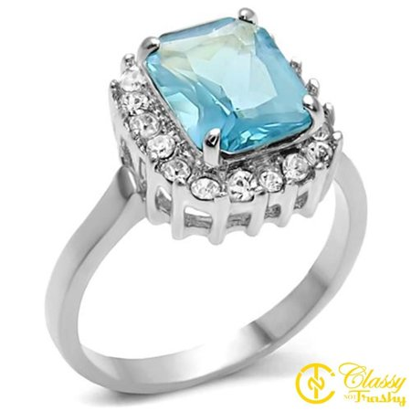 Classy Not Trashy® Size 8 AquaMarine Stainless Steel Synthetic High polished Ring