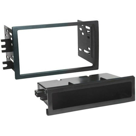 SCOSCHE NN1643B - 2008-12 Nissan Titan ISO Double DIN & DIN+Pocket Mounting Dash Kit for Car Radio / Stereo Installation, Manual A/C Controls, Non-Navigation