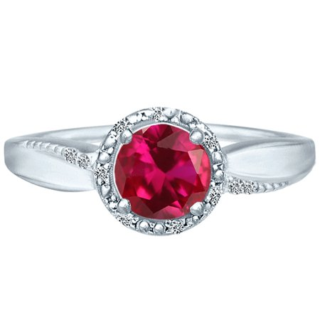 1.27 tcw Brilliant Round Cut Natural Ruby &  Diamond Halo Ring 10k White