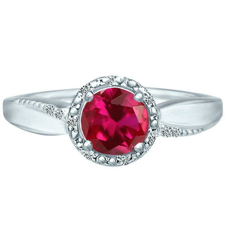 1.27 tcw Brilliant Round Cut Natural Ruby &  Diamond Halo Ring 10k White Gold