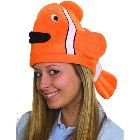 Plush Novelty Clown Fish Ocean Animal Hat Tropical Orange Costume Accessory (Hat Fish)