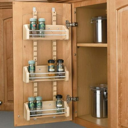 Rev-A-Shelf - 4ASR-15 - Small Cabinet Door Mount Wood Adjustable 3-Shelf Spice Rack ()