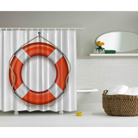 Nautical Coastal Marine Decor Life Belt Orange Shower Curtain Extra Long 84 Inch