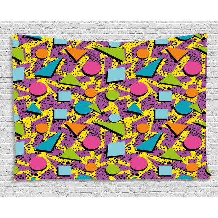 Vintage Tapestry, Funky Geometric 80s Memphis Fashion Style Colorful Figures Pop Art Inspired Pattern, Wall Hanging for Bedroom Living Room Dorm Decor, 80W X 60L Inches, Multicolor, by