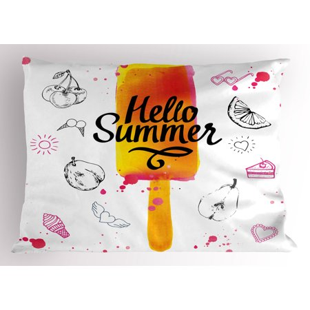 Ice Cream Pillow Sham Hello Summer Motivational Quote with Lime Heart Sun Cake Color Splashes Image, Decorative Standard Size Printed Pillowcase, 26 X 20 Inches, Multicolor, by