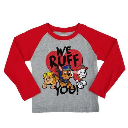 Paw Patrol Infant & Toddler Boys We Ruff You Valentines Day Raglan Shirt