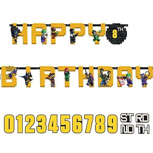 Lego Batman Jumbo Custom Age Letter Banner - Printed Paper Birthday Party Supplies, Lego Batman Jumbo Custom Age Letter Banner By Amscan