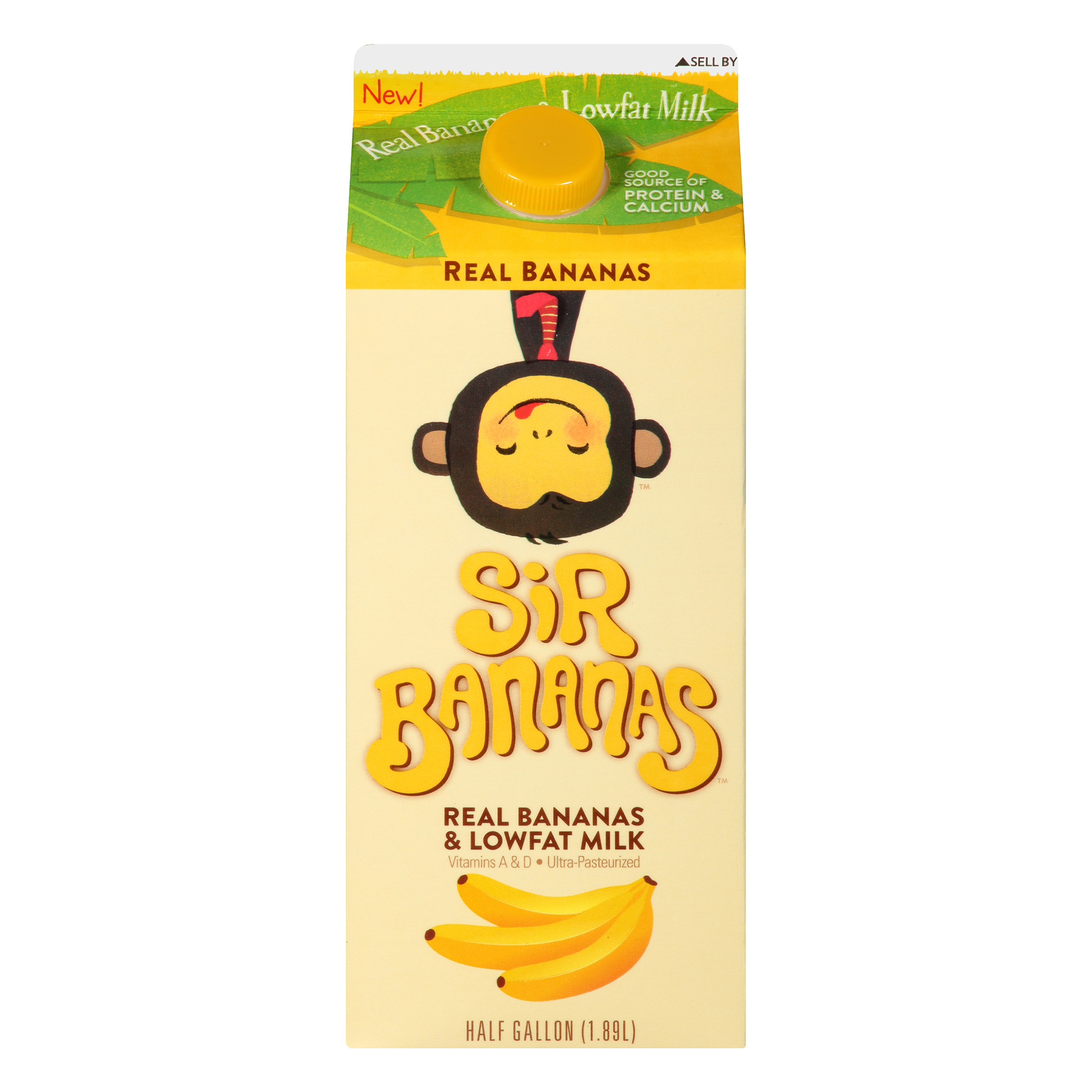 Sir Bananas™ Lowfat Bananamilk 0.5 gal Carton, 1.89 L