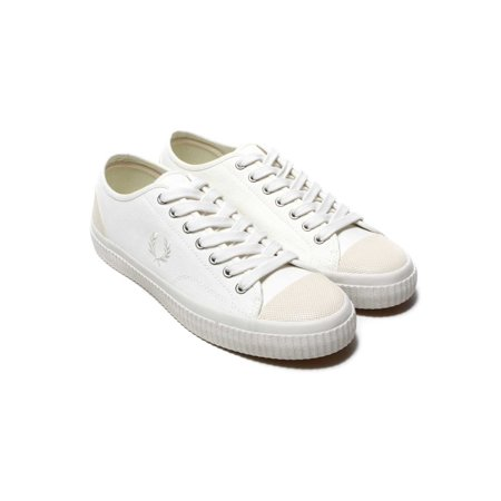Fred Perry Mens Hughes Canvas Low Top Lace Up Fashion, Snow White, Size 10.0 (Fred Perry Canvas)