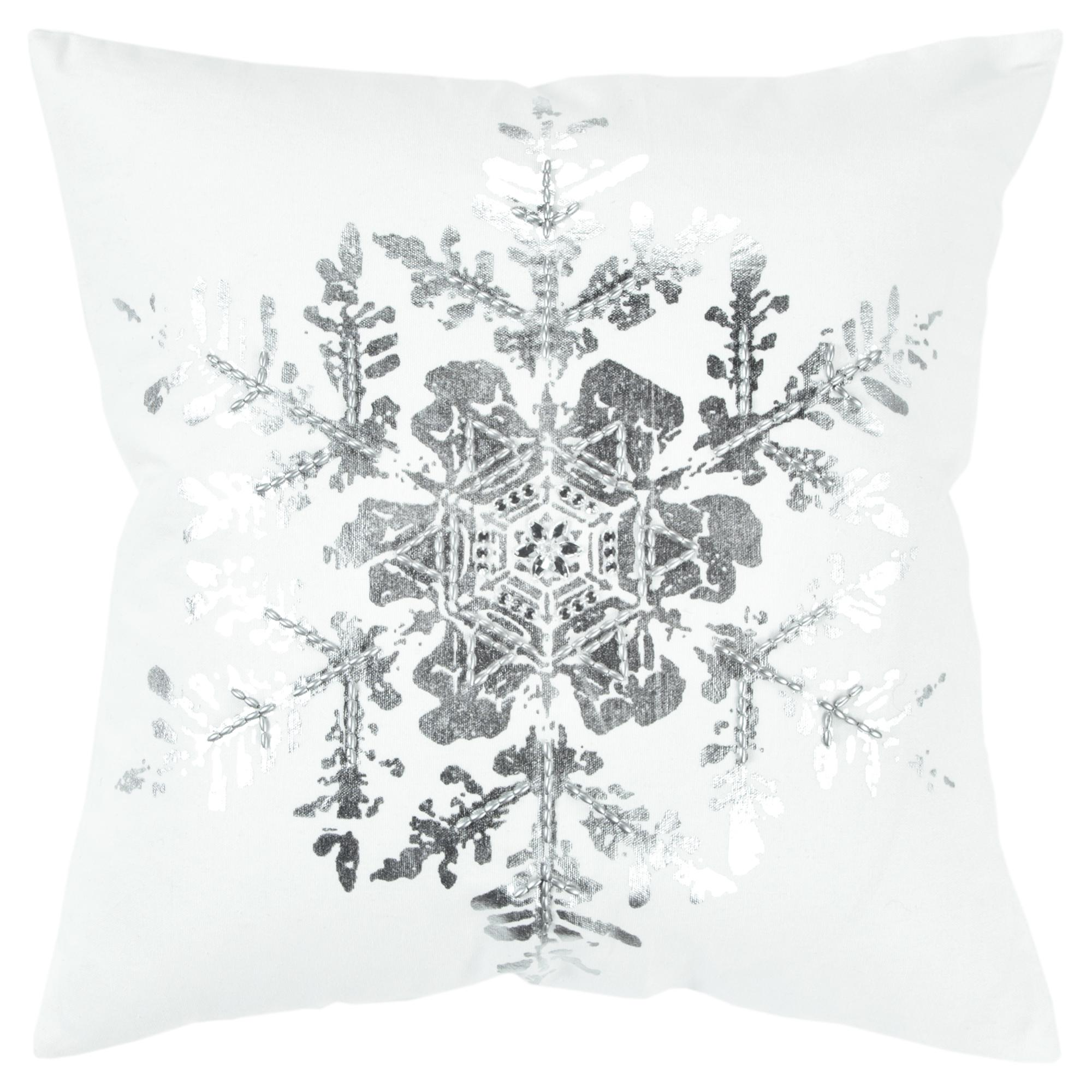 "Rizzy Home Decorative Poly Filled Throw Pillow Holiday Snowflake 20""X20"" Silver"