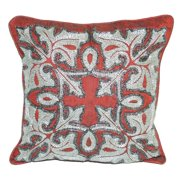 La Cera Square Decorative Throw Pillow with Beaded Embroidery