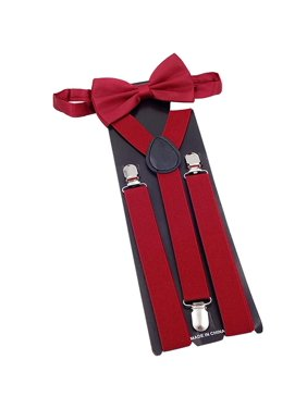 Mens Suspender Fashionable Y Back Clip Adjustable Elastic Suspenders Bow Tie Set for Party Wedding