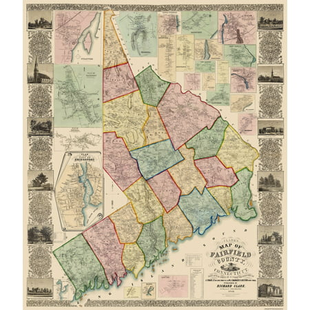 Old County Map - Fairfield Connecticut Landowner - 1856 - 23 x 26.88 ...