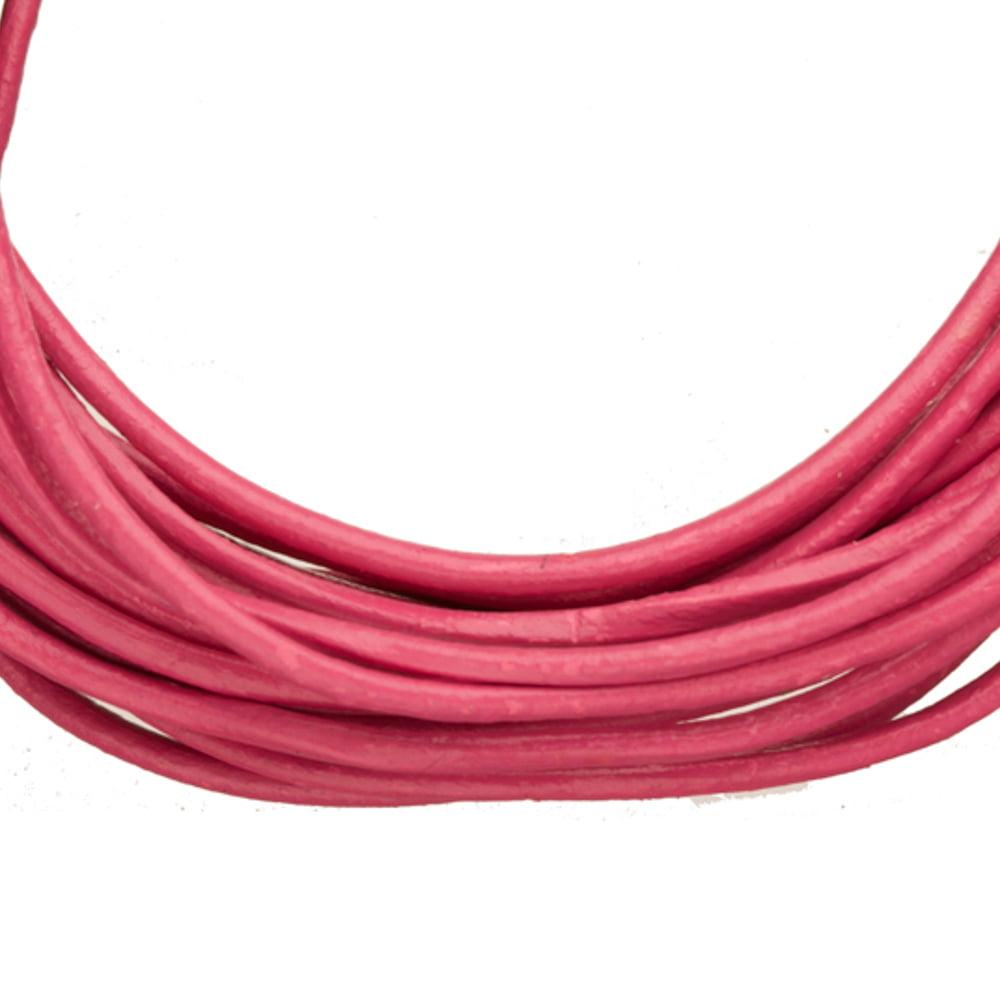 Full-Grain Genuine Leather Cord, 2mm Round Crimson 5 Yard
