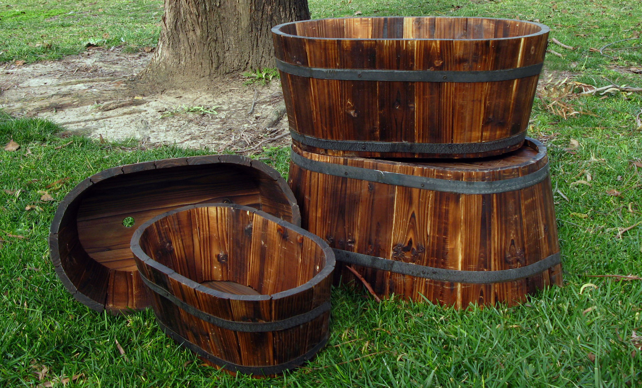 Wine Barrel Planter Whiskey Oval Garden Pots Cedar Set Of 4 Rustic ...