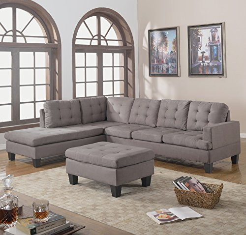 Divano Roma Furniture 3-Piece Reversible Chaise Sectional Sofa with Ottoman Grey Charcoal : chaise ottoman - Sectionals, Sofas & Couches