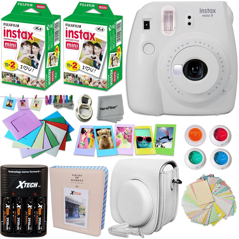 FujiFilm Instax Mini 9 Camera WHITE + Accessories KIT for Fujifilm Instax Mini 9 Camera includes: 40 Instax Film + Custom Case + 4 AA Rechargeable Batteries + Assorted Frames + Photo Album + MORE
